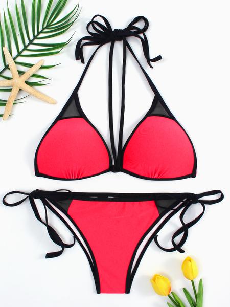 Yoins Red Lace-up Tie Back Bikini & Red Bottom Set