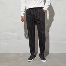 Pantalones a medida de rayas con bolsillo oblicuo