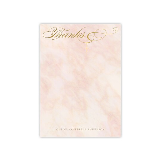 20 Pack of Gartner Studios® Personalized Marble Flat Baby Thank You in Dusty Rose | 5