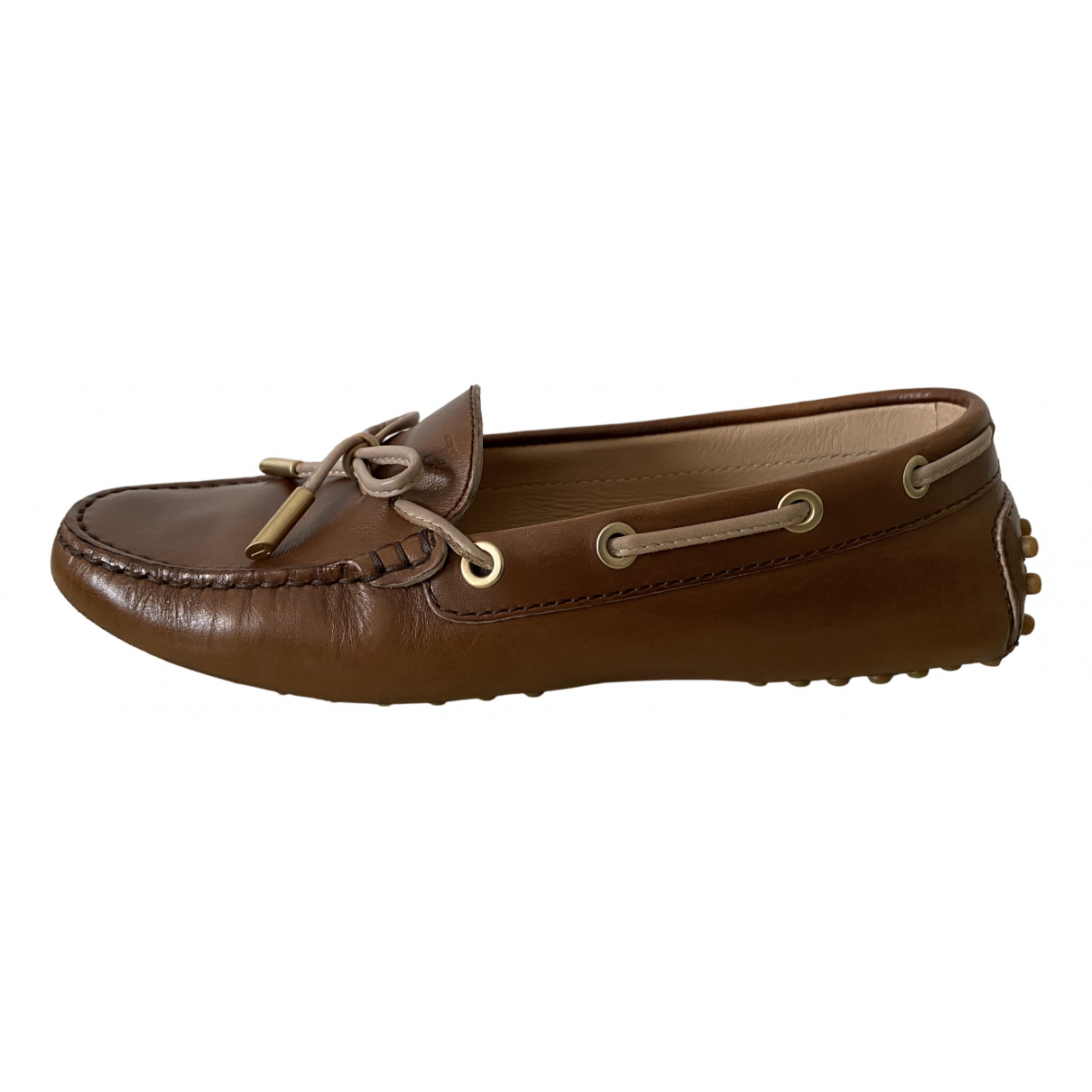 Tod's Gommino Brown Leather Flats for Women 35.5 EU