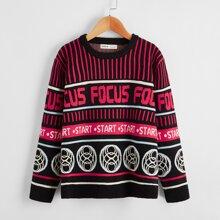 Pullover mit Buchstaben & Geo Muster