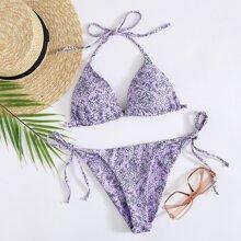 Dreieckiger Bikini Badeanzug mit Bluemchen Muster und seitlichem Band