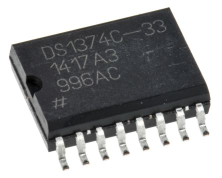 Maxim Integrated DS1374C-33#, Real Time Clock (RTC), 3B RAM Serial-I2C, 16-Pin SOIC (46)