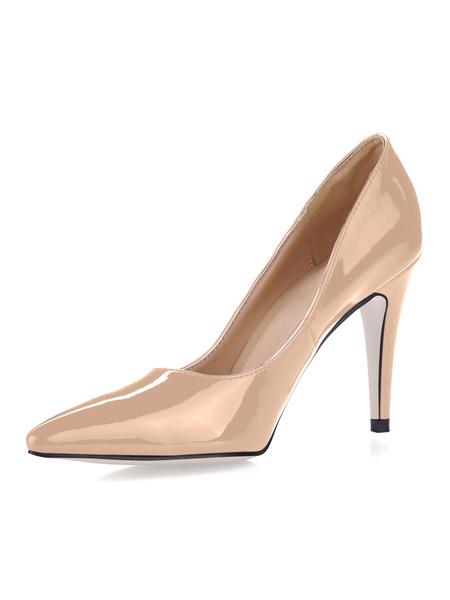 Milanoo Rosa Zapatos de Tacon Alto con Punta Puntiguada 2020 de Charol Antideslizantes sin Tirantes Zapatos de Vestido para Mujer