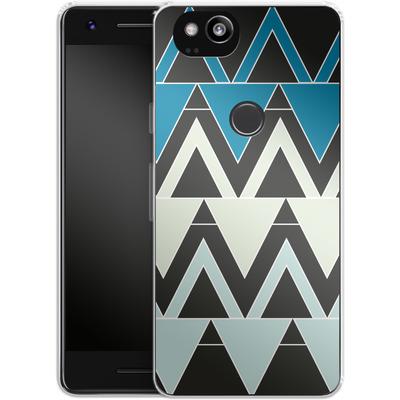 Google Pixel 2 Silikon Handyhuelle - Blue Triangles von caseable Designs