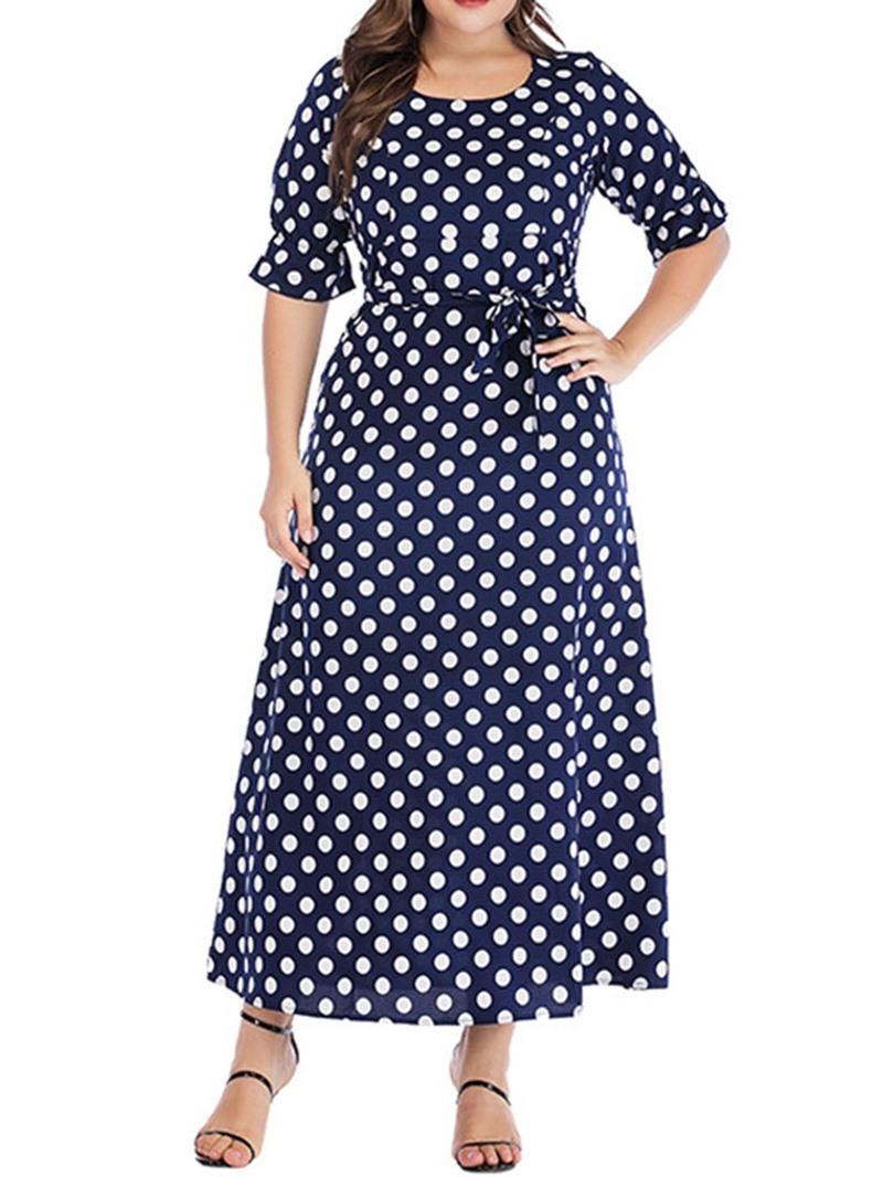 Ericdress Plus Size Lace-Up Round Neck Half Sleeve Elegant Polka Dots Dress