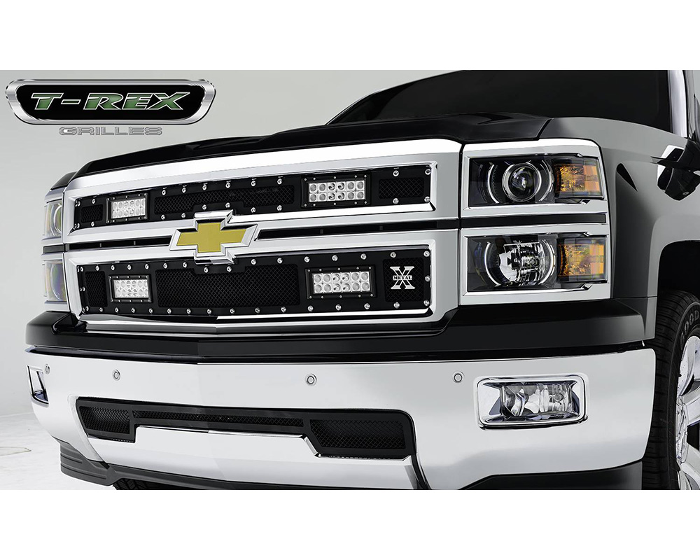 2014-2015 Silverado 1500 Stealth Torch Grille, Black, 2 Pc, Replacement, Black Studs, Incl. (4) 6