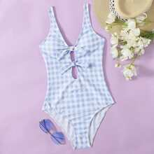 Gingham Knot Detail One Piece Swimsuit