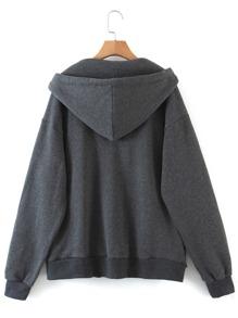 Solid Zip Up Drawstring Hooded Sweatshirt