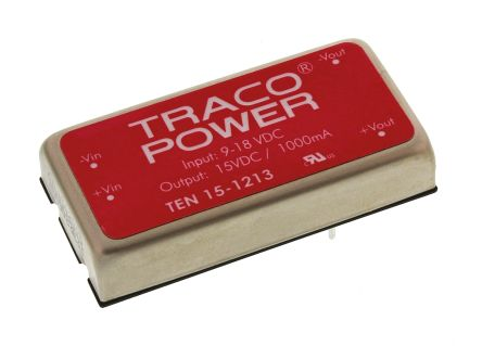 TRACOPOWER TEN 15 15W Isolated DC-DC Converter Through Hole, Voltage in 9 → 18 V dc, Voltage out 15V dc