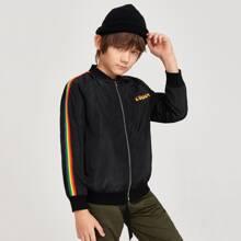 Boys Letter Graphic Rainbow Striped Raglan Sleeve Wind Bomber Jacket