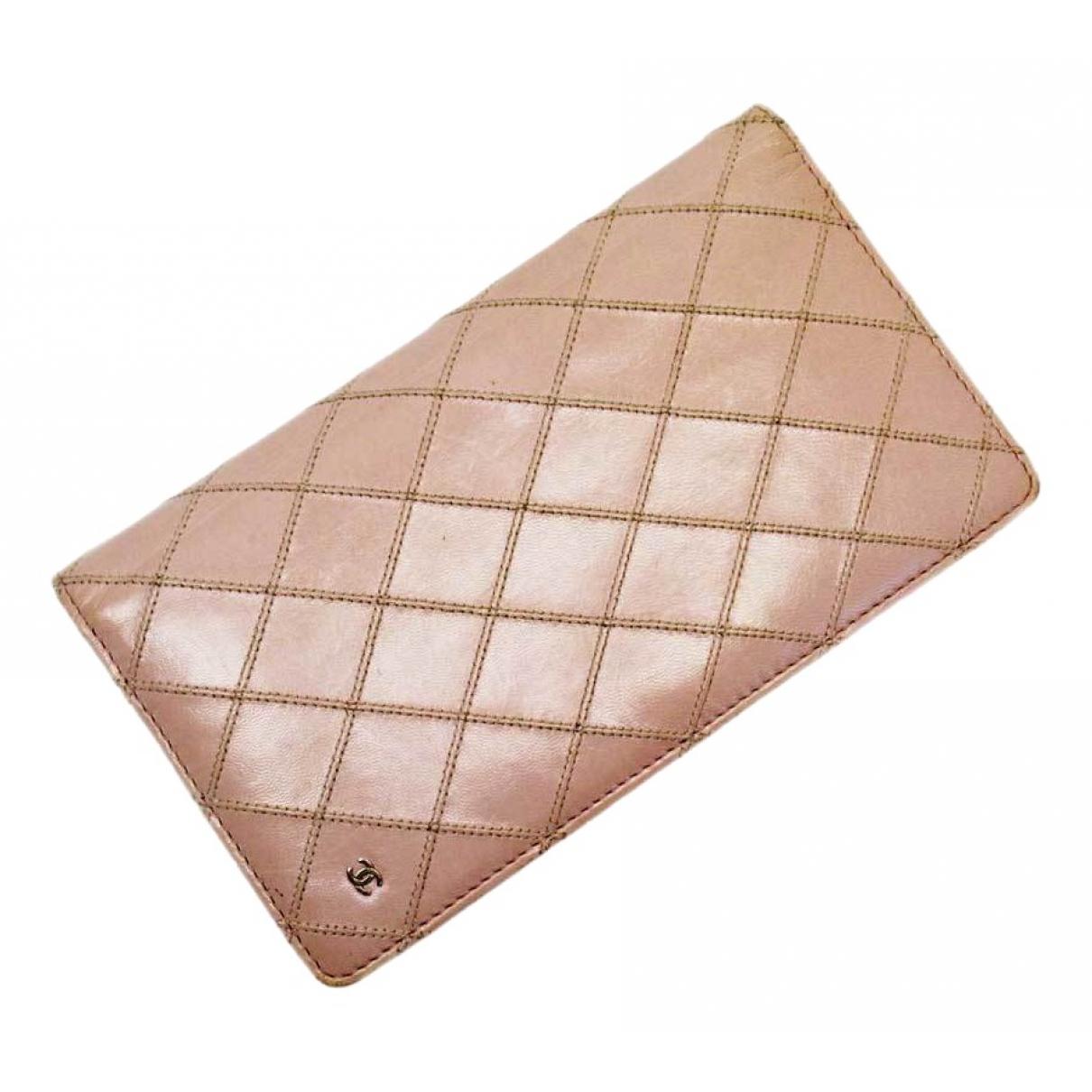Chanel - Portefeuille   pour femme en cuir - rose
