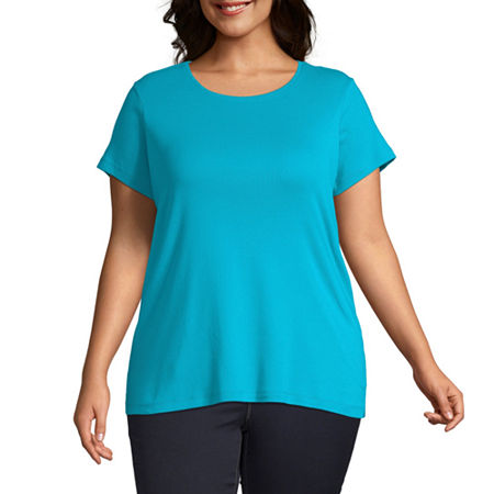 St. John's Bay Plus-Womens Crew Neck Short Sleeve T-Shirt, 4x , Blue