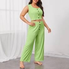 Conjunto de pijama con boton delantero
