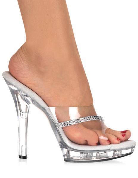 Milanoo Zapatillas transparentes de PVC con diamante de imitacion de estilo sexy