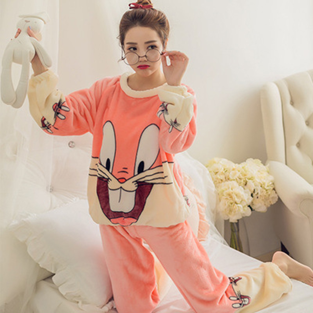 Two Color Super Cute Rabbit Coral Cashmere Women Bathrobe