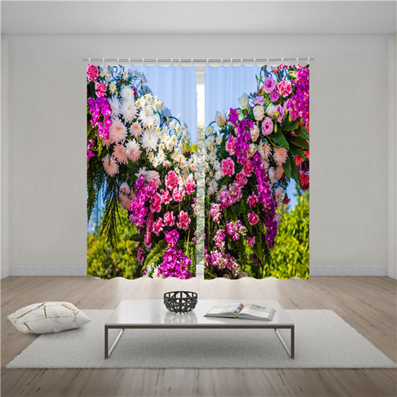 3D Spring Floral Blackout Curtains 250g/m² Polyester 90% Shading Rate and UV Rays Environmentally Friendly Printing and Dyeing No use of Chemical Auxi