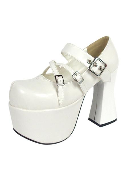 Milanoo Sweet White Ravel Round Toe PU Leather Sky High(> 4) Lolita Shoes