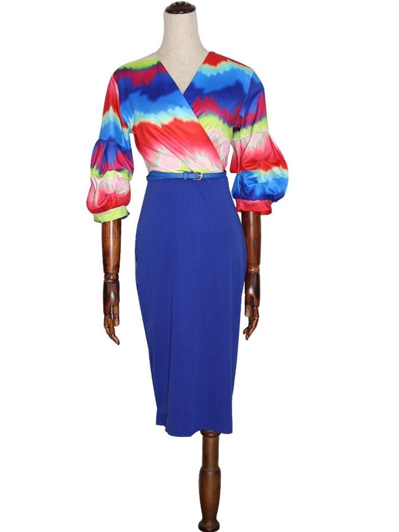 Ericdress Three-Quarter Sleeve Mid-Calf V-Neck Bodycon Dress