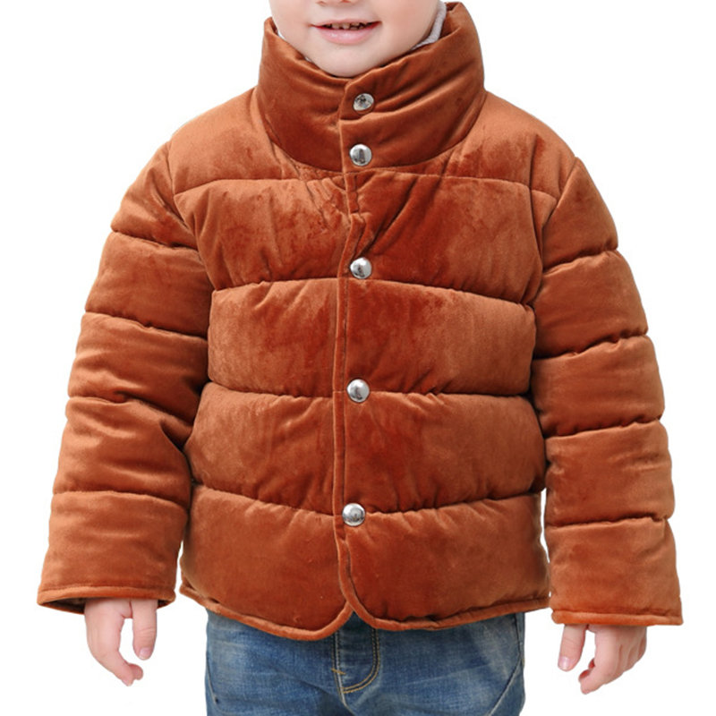 Solid Color Boys Stand Collar Down Jackets Warm Coats For 2Y-9Y
