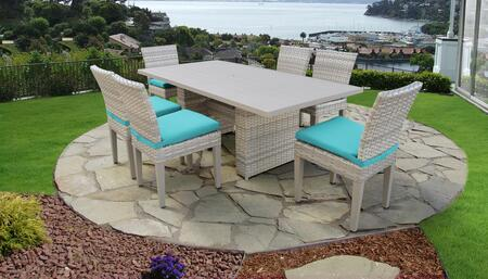 Fairmont Collection FAIRMONT-DTREC-KIT-6C-ARUBA Patio Dining Set With 1 Table  6 Side Chairs - Beige and Aruba