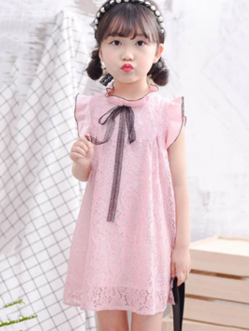 Ericdress Lace Cap Sleeve A-Line Girl's Casual Dress