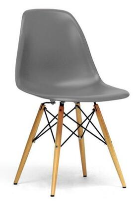Baxton Studio DC-231A-GREY Azzo Modern Shell Chair with Wooden Dowel Tapered Legs  Molded Plastic Seat  Steel Hardware and Non-Marking Feet (Set of