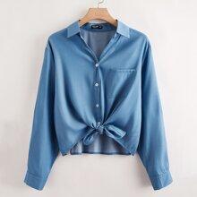 Denim Bluse mit gerollten Ärmeln und Taschen Flicken