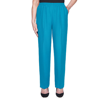 Alfred Dunner Essential Elements Womens Straight Pull-On Pants, 16 Petite Short , Green