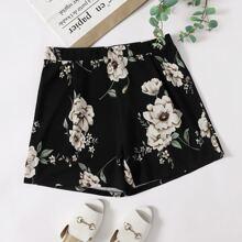 Plus Floral Print Straight Leg Shorts
