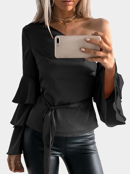 Yoins Black One Shoulder Ruffle Bell Sleeves Blouse with Belt