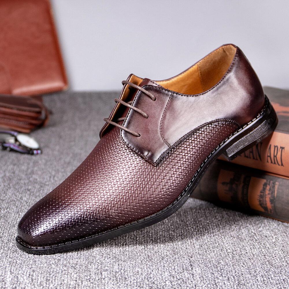 Menico Men Microfiber Leather Non Slip Woven Style Formal Business Dress Shoes