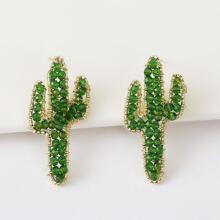 Crystal Cactus Stud Earrings