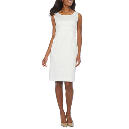 Black Label by Evan-Picone Sleeveless Sheath Dress, 14 , White