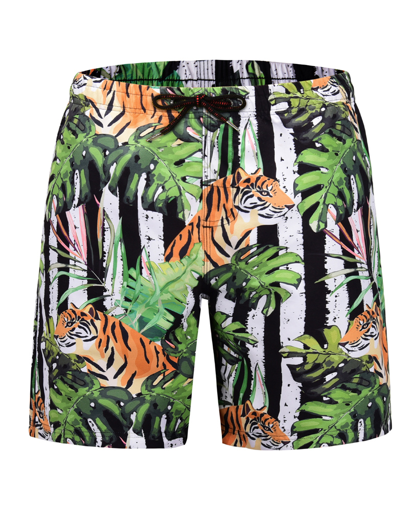 Knee Length Print Straight Model Polyester 3D Beach Shorts