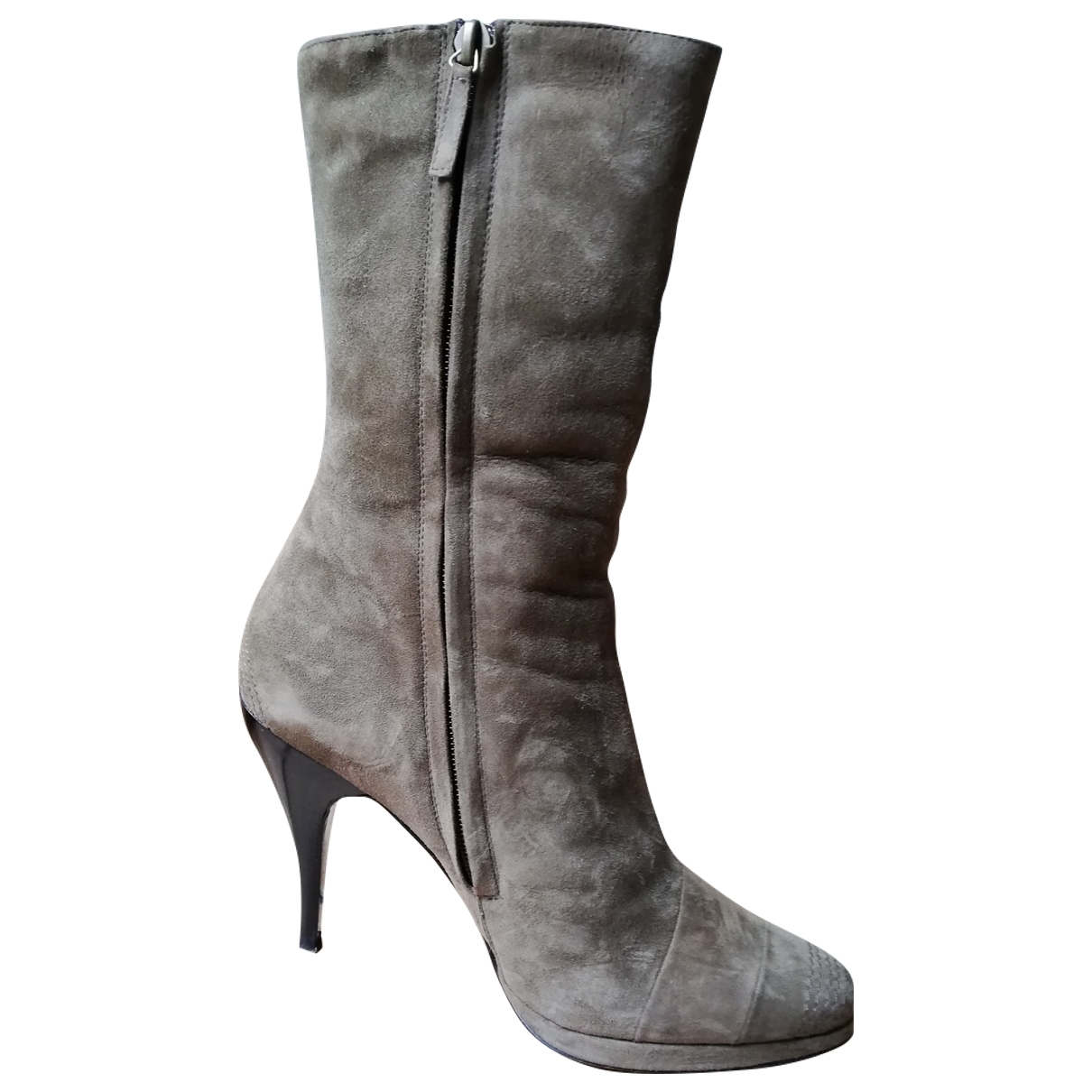 Non Signé / Unsigned \N Khaki Suede Ankle boots for Women 38.5 EU