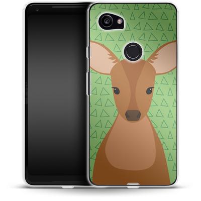 Google Pixel 2 XL Silikon Handyhuelle - Deer on Green von caseable Designs