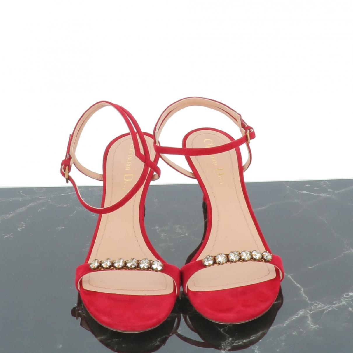 Dior - Sandales   pour femme en suede - bordeaux