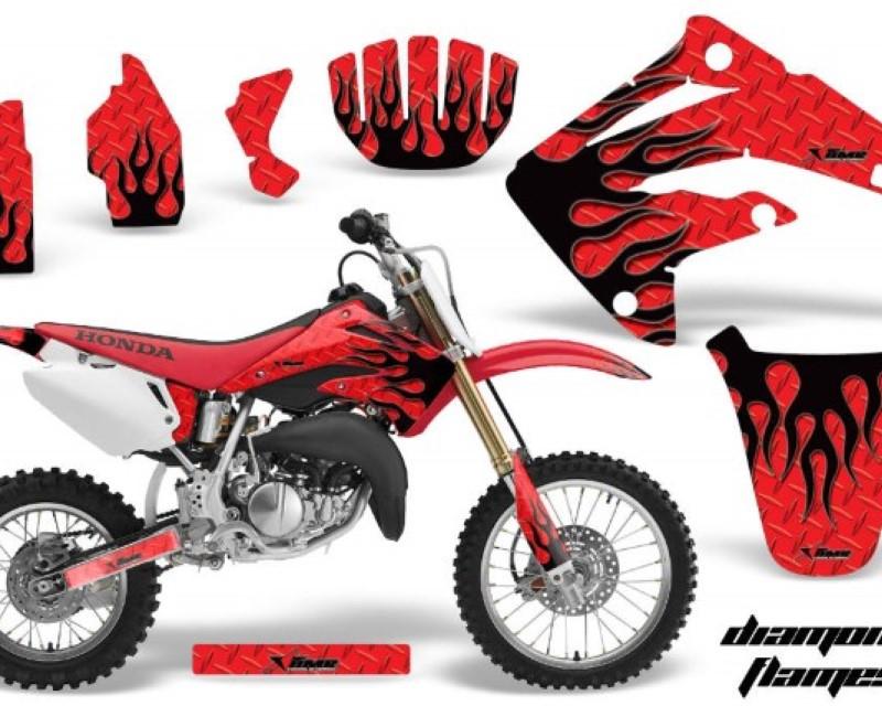 AMR Racing Dirt Bike Graphics Kit MX Decal Wrap For Honda CR85 CR 85 2003-2007 DIAMOND FLAMES BLACK RED