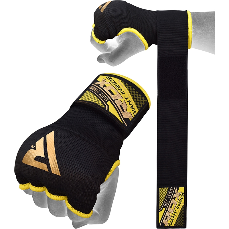 RDX Inner Gloves Gel Padded with 75cm Wrist Wrap Small Black/Yellow/Golden