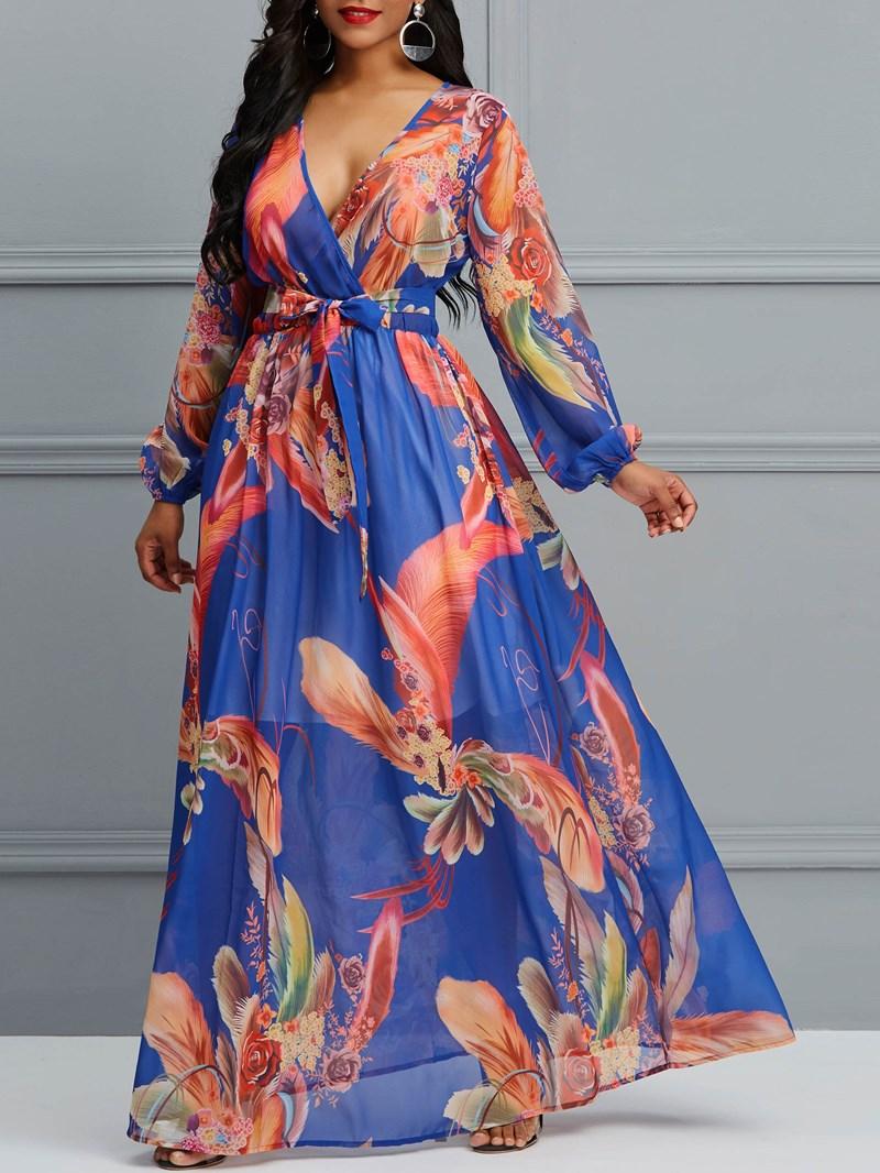 Ericdress Floor-Length Lantern Sleeve Print Women's Dress