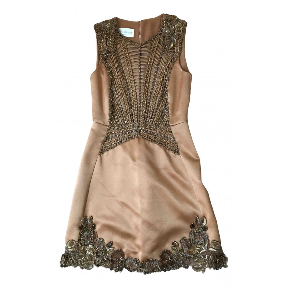 Alberta Ferretti \N Kleid in  Kamel Seide