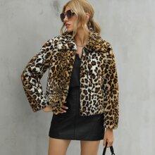 Leopard Print Open Front Faux Fur Coat