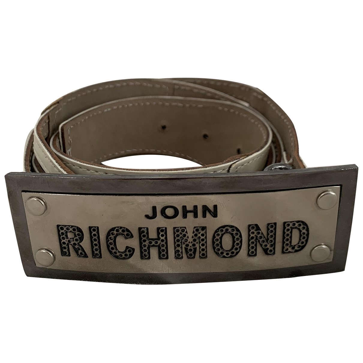 John Richmond \N Ecru Leather belt for Women 95 cm
