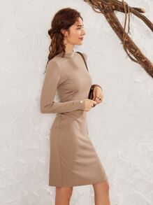 Mock-neck Split Hem Sweater Dress