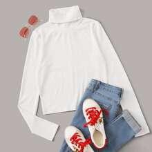 Camiseta tejida de canale de cuello doblado