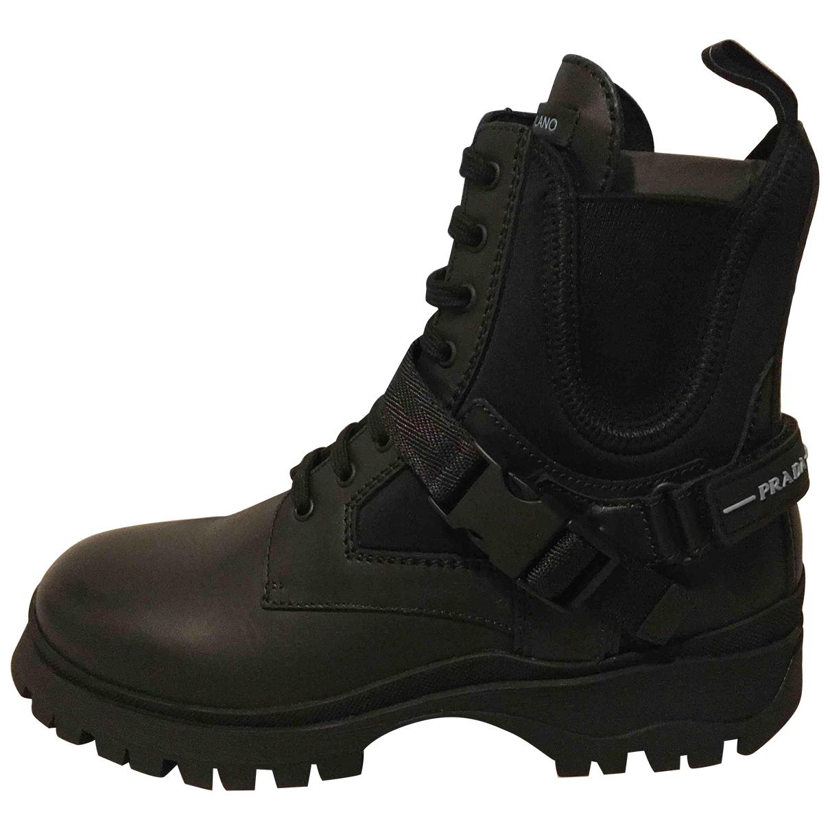 Prada - Boots Block Combat pour femme en cuir - noir