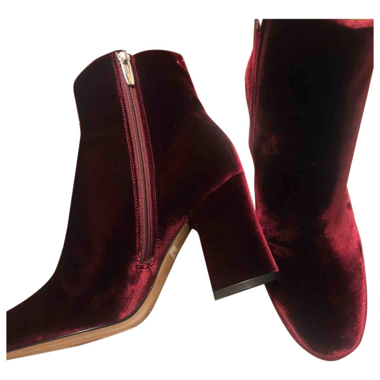 Gianvito Rossi - Boots   pour femme en velours - bordeaux