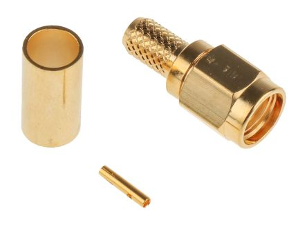 RS PRO Straight Cable Mount Coaxial Connector, Plug, Gold, Crimp Termination, Reverse Polarity, RG58/U