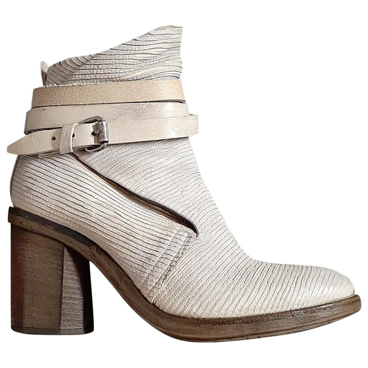 A.s.98 - Boots   pour femme en cuir - blanc